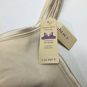 Cacique~Cotton No-Wire~NWT~46C~Nude~Comfort~